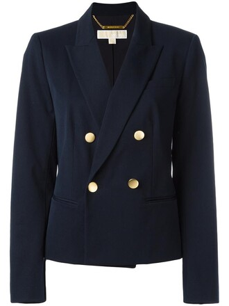 blazer double breasted women spandex cotton blue jacket