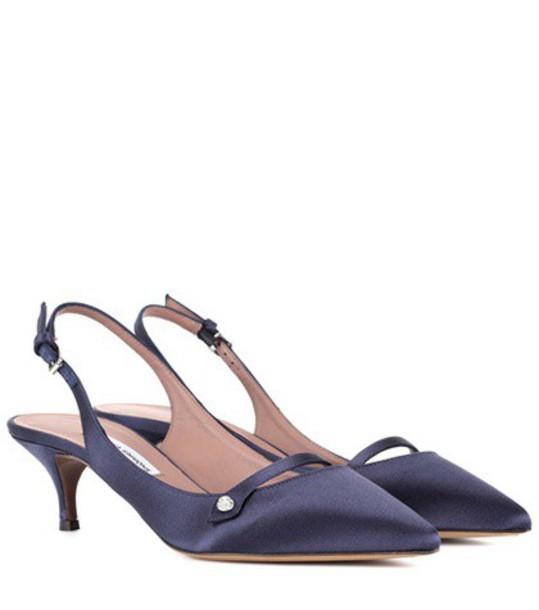 tabitha simmons pumps satin blue shoes