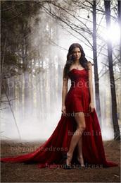 dress,the vampire diaries,nina dobrev,red dress,long prom dress,red prom dress,prom dress,gown,celebrity