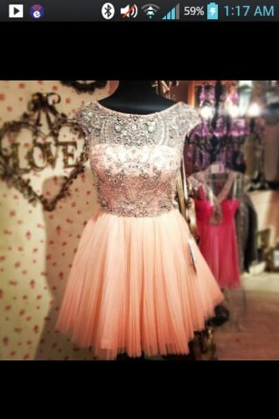 dress pink short beige dress