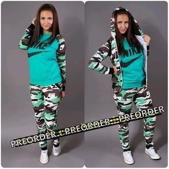 jumpsuit nike mint green dress green camouflage 3 piece suit tracksuit tracksuit bottoms sportswear outwear outfit jacket vest pants sweater sweatpants sweatsuit
