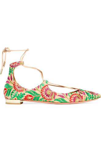 embroidered flats green shoes