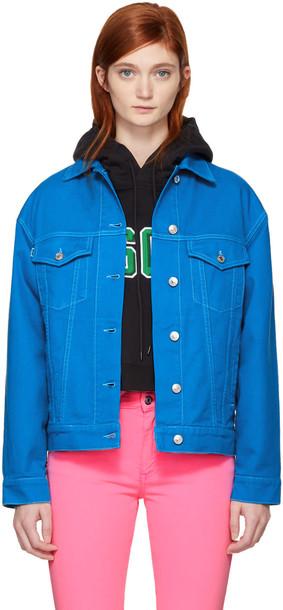 MSGM jacket denim jacket denim oversized embroidered blue