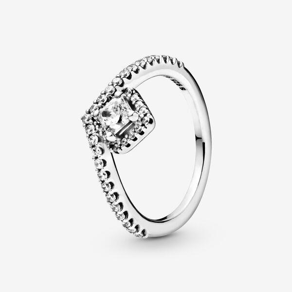 Pandora Square Sparkle Wishbone Ring - Size 4.5 | Silver | 198420C01-48