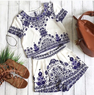 jumpsuit haute rogue romper two piece ste two-piece white and blue printed crop tops white two piece cute summer