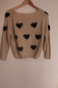 Tan Sweater with Black Hearts | eBay