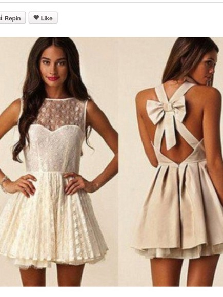 dress Bow Back Dress part lace <3