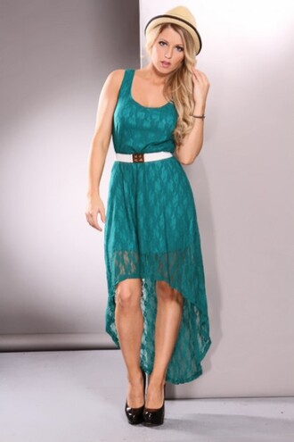 dress clothes teal country lace high low teal lace dress