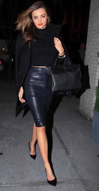 bag black black bag skirt top leather skirt celebrity style jacket black crop top leather black skirt trench coat mirander kerr