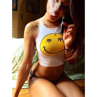 yellow marijuana smiley face crop nice pretty tips swag crop tops tank top t-shirt smiley vest crop high emoji shirt top white crop tops shirt weed