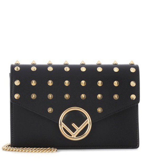 Fendi leather clutch embellished clutch leather black bag
