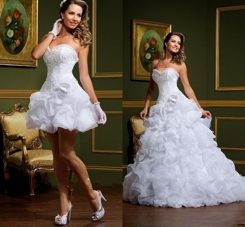 2014 Sexy vestido de noiva Ball Gown Wedding Dresses 2 in 1 Removable Skirt Short Summer Winter Bridal Gowns-in Wedding Dresses from Apparel & Accessories on Aliexpress.com