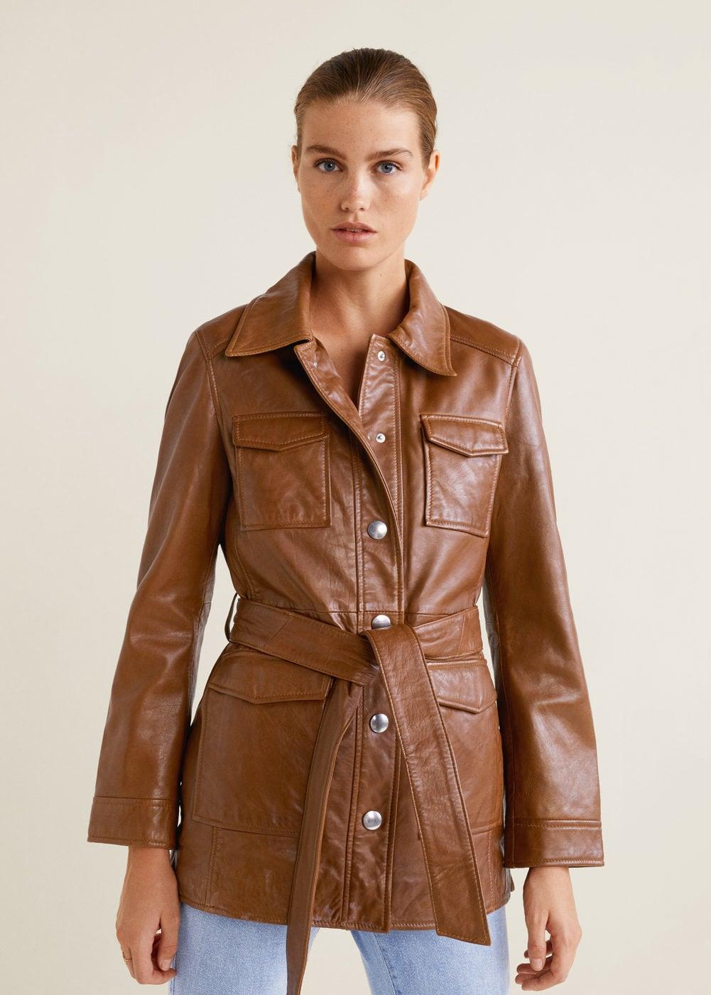 Pockets Leather Jacket Women Mango Usa