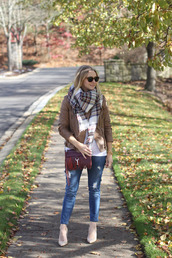 simply lulu style,blogger,t-shirt,jacket,shoes,scarf,sunglasses,bag,jewels,fall outfits,tartan scarf,red bag,crossbody bag,ankle boots