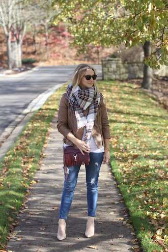 simply lulu style blogger t-shirt jacket shoes scarf sunglasses bag jewels fall outfits tartan scarf red bag crossbody bag ankle boots