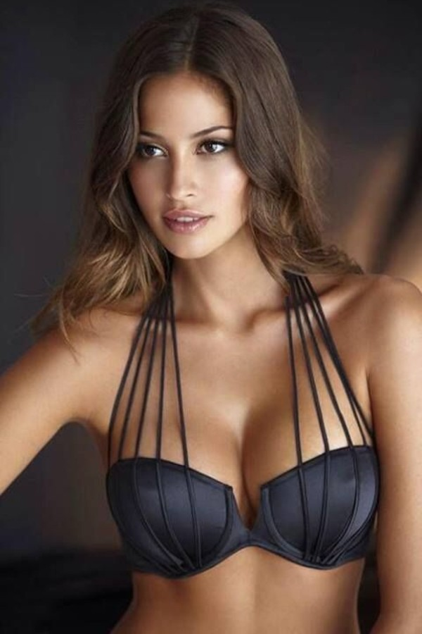underwear bra black sexy swimwear black bikini top stripes what brand is this? who makes this bra? bikini swim wear swimwear black swimwear strappy bikini
