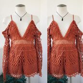 romper,rust,trendys,spring,summmer,summer,rust corchet,crochet,outfit,ootd,vacation outfit,vacation looks,vintage,boho,bohemian,gypsy boho,bellexo,vacation style,hipster
