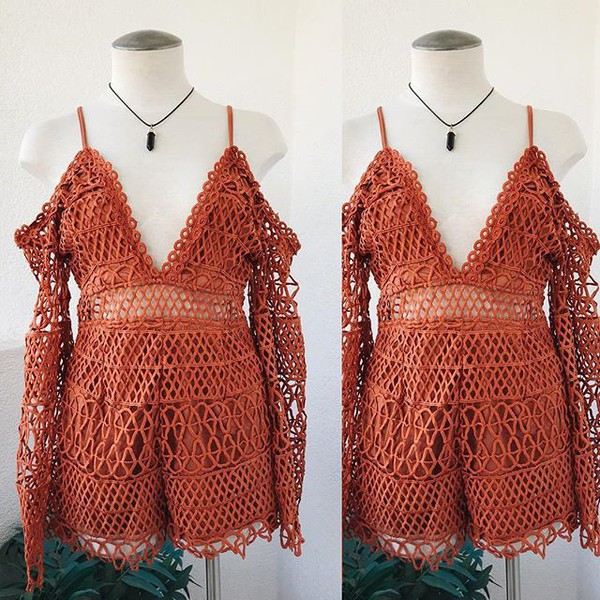 romper rust romper trendys spring summmer summer rust corchet crochet outfit ootd vacation outfit vacation looks vintage boho bohemian gypsy boho bellexo vacation style hipster