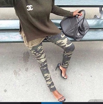 sweater green camouflage army green knit pullover fall outfits fall sweater ribbed green sweater fashion outfit perfect ribbed sweater jumper side-slit