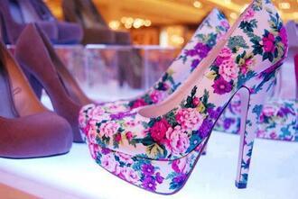 shoes high heels flower floral