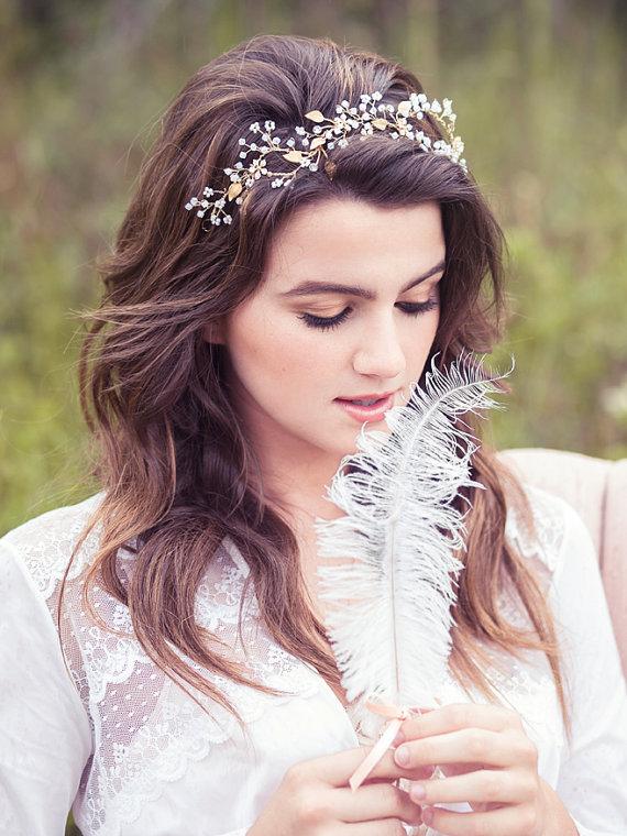 Bridal Hair Vine Wedding Crystal Headband Beaded Head