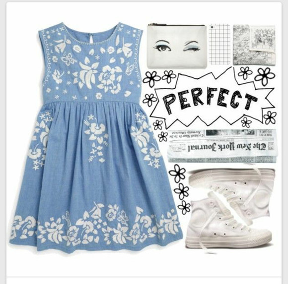 cute dress blue dress polyvore polyvore dress converse perfect blueandwhite jean dress