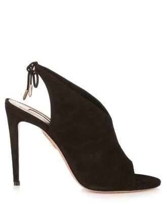 back sandals suede black shoes