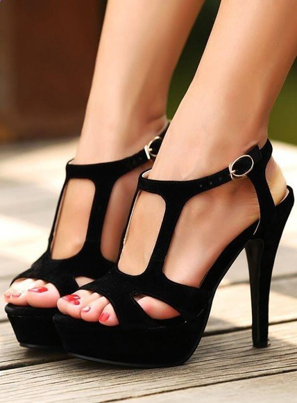cut-out shoes high heels strappy