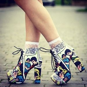 Jeffrey campbell x black milk lita sick of men comic platform heels