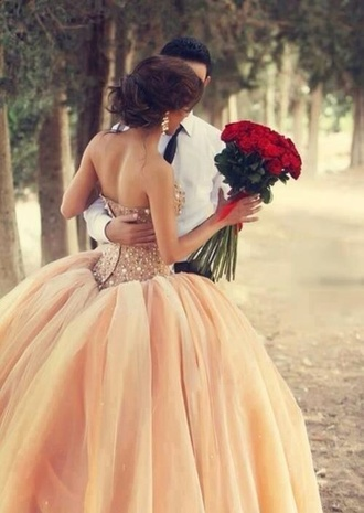 dress wedding wedding dress bride bridal bridal dress lace pretty women lady crystal peach flowers pattern shiny where to get that dress store shop shopping online the jewels on the dress champagne dress jewels on dress pinks dress
