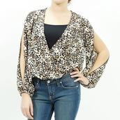 blouse,leopard print,print,print top,animal,animal print,open sleeve,v neck,chiffon,chiffon top,top,fashion top,trendy top,trendys,trendy,stylish,styli,stylish top
