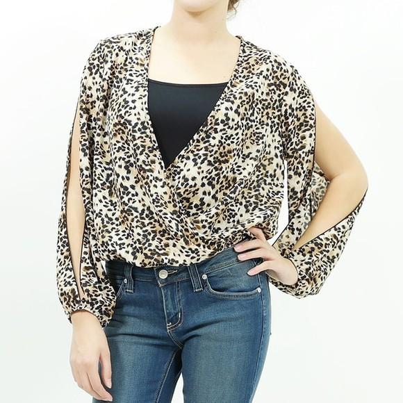 chiffon blouse leopard print print print top animal animal print open sleeve v neck top v neck chiffon top top fashion top trendy top trendys trendy stylish styli stylish top