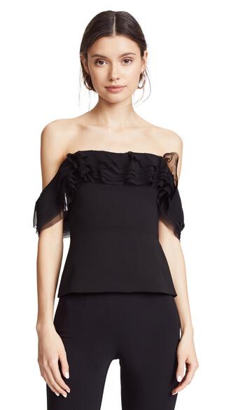 top strapless top strapless chiffon layered black