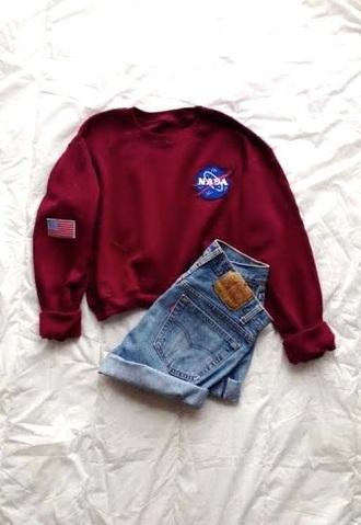 sweater nasa burgundy sweater