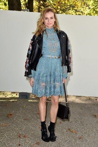 dress lace dress diane kruger jacket paris fashion week 2016 streetstyle