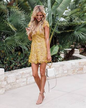 romper tumblr yellow lace romper sandals sandal heels high heel sandals bag white bag summer outfits shoes