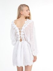 dress,chiclook closet,white,lace,lace dress,whie lace dress,vintage,boho,girly,girl
