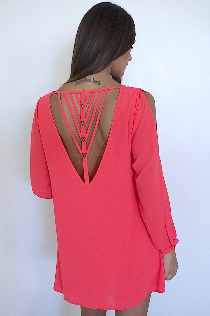 Coral Strappy Back Mini Dress
