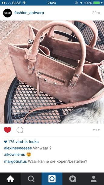 bag tote bag shoulder bag suede bag pink bag leather bag pink leather tote bag