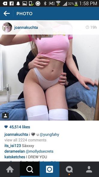 underwear white panties joanna kuchta tight t-shirt shirt pink crop graphic tee