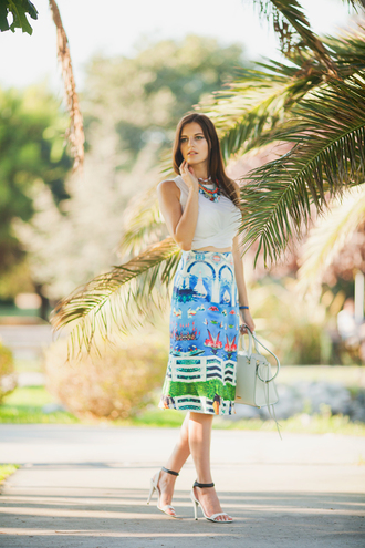 the bow-tie blogger skirt top jewels shoes bag
