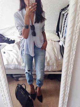 jeans shirt blouse heels tumblr classy boyfriend jeans button up blouse