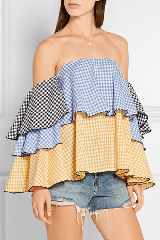 top off the shoulder gingham
