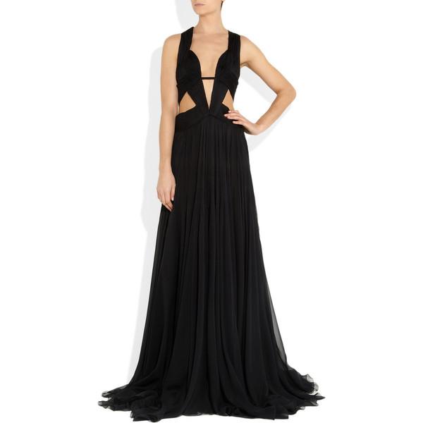 Roberto Cavalli Cutout silk-chiffon gown - Polyvore