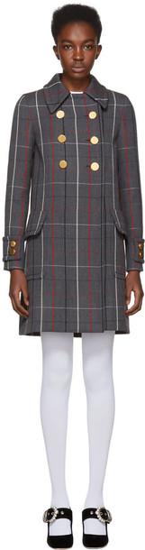 Miu Miu coat plaid coat plaid wool grey