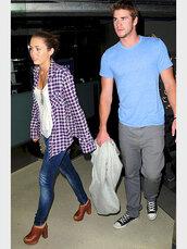 miley cyrus,purple blouse,tank top,blouse,shoes,wine color,clogs,red,fringe shoes,fringe clog,vue boutique