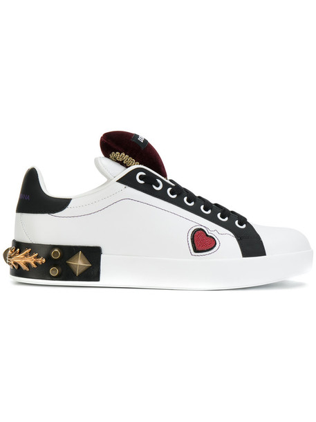 Dolce & Gabbana heart women embellished sneakers leather white shoes