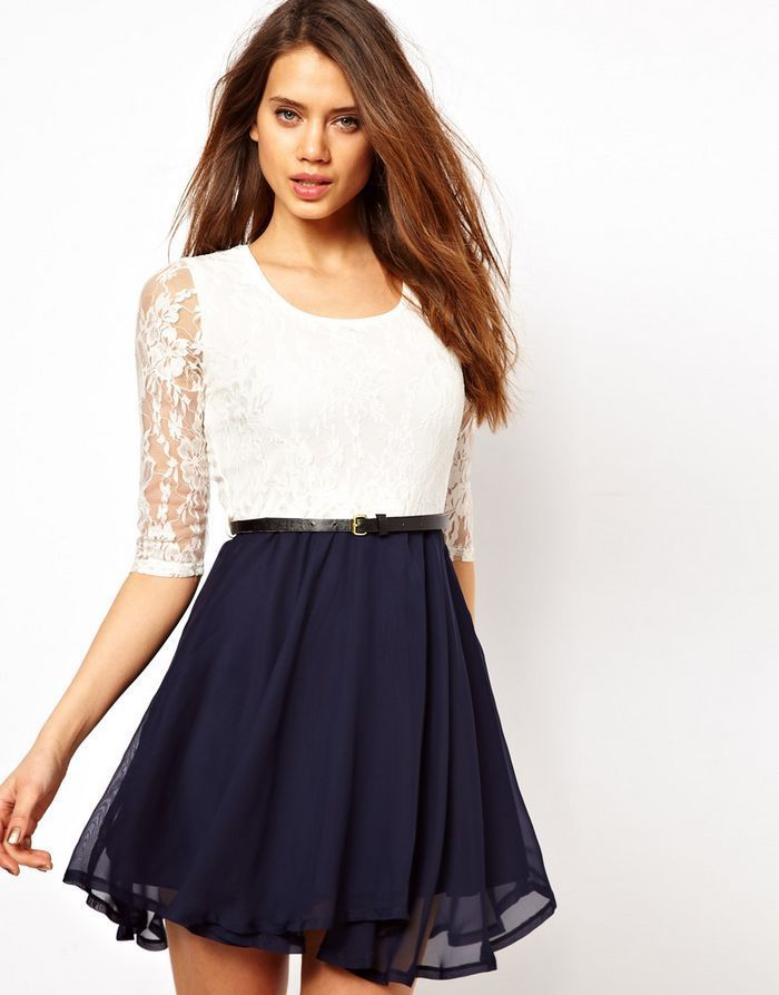 Hot elegant lace blue with belt