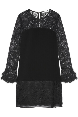 dress mini dress mini chiffon lace silk black