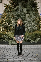 see jane,blogger,coat,dress,shoes,thigh high boots,mini dress,black jacket,winter outfits